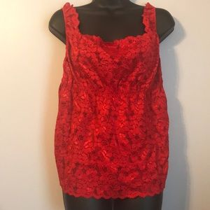 Cacique Red Lace Empire Waist Cami Tank Top 22/24